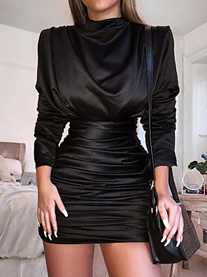 cheap Cocktail Dresses-Women's Sheath Dress - Long Sleeve Solid Color Ruched Pleated Sexy Party Batwing Sleeve Slim Black Red Royal Blue S M L XL