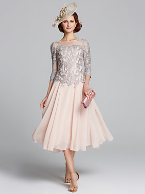 cheap Evening Dresses-A-Line Mother of the Bride Dress Sexy Plus Size Jewel Neck Tea Length Chiffon Lace 3/4 Length Sleeve with Beading 2020