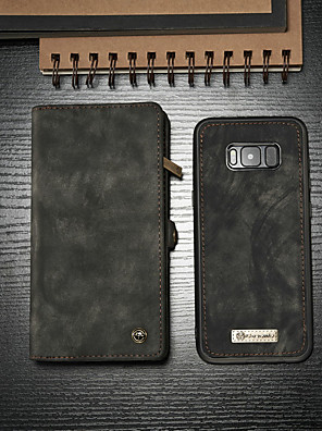 cheap vivoCase-CaseMe Case For Samsung Galaxy S8 Wallet / Card Holder / with Stand Full Body Cases Solid Colored Hard PU Leather