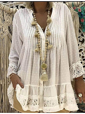 cheap Women's Blouses & Shirts-Women's Plus Size T-shirt Solid Color Lace Tops Lace Blouses Boho V Neck White Blushing Pink Khaki / Beach