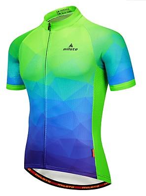 povoljno Biciklističke majice-Miloto Muškarci Kratkih rukava Biciklistička majica Blue + Orange Blue / Bijela Red+Blue Bicikl Biciklistička majica Majice Ovlaživanje Reflektirajuće trake Povratak džep Sportski 100% poliester
