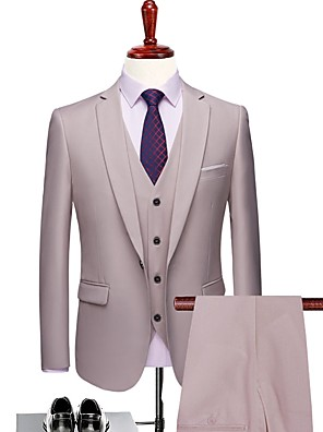 cheap Cocktail Dresses-Milky White Solid Colored Tailored Fit Polyester Suit - Notch Single Breasted One-button / Suits