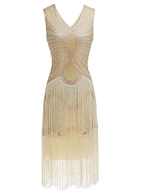 cheap Special Occasion Dresses-The Great Gatsby Charleston Sheath / Column Sexy Vintage Inspired Holiday Cocktail Party Dress V Neck Sleeveless Tea Length Sequined with Beading 2020