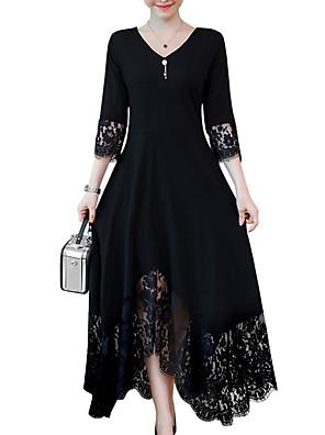 cheap Evening Dresses-Women's Plus Size Maxi Black A Line Dress - Long Sleeve Solid Colored Lace Trims Spring Fall V Neck Daily Black L XL XXL XXXL XXXXL XXXXXL XXXXXXL