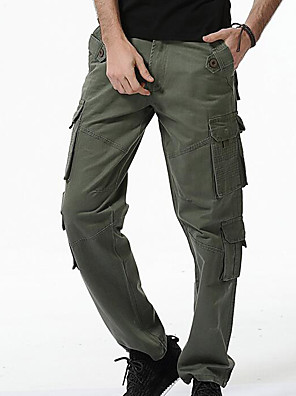 cheap Men's Jackets & Coats-Men's Basic Military Daily Chinos Cargo Pants - Solid Colored Black Army Green Khaki 28 / 29 / 30
