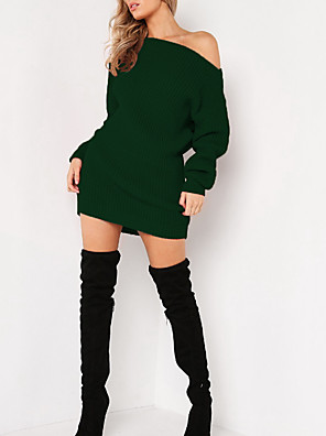 cheap Women's Dresses-Women's Sweater Dress - Long Sleeve Off Shoulder Daily Loose Wine Green Brown S M L XL XXL / Sexy