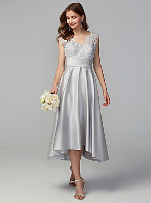 cheap Bridesmaid Dresses-A-Line V Neck Asymmetrical Lace / Satin Bridesmaid Dress with Lace