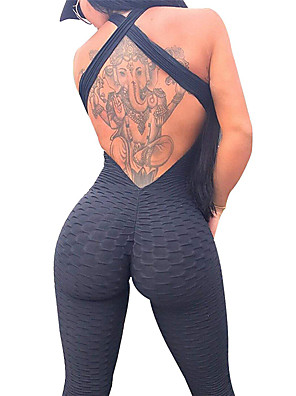 cheap Quartz Watches-Women's Workout Jumpsuit Ruched Butt Lifting Solid Color Black White Sky Blue Spandex Yoga Fitness Gym Workout High Rise Leggings Bodysuit Romper Sleeveless Sport Activewear Moisture Wicking Soft