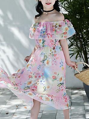 cheap Girls' Dresses-Kids Girls' Sweet Boho Daily Beach Floral Ruffle Print Sleeveless Dress Blushing Pink