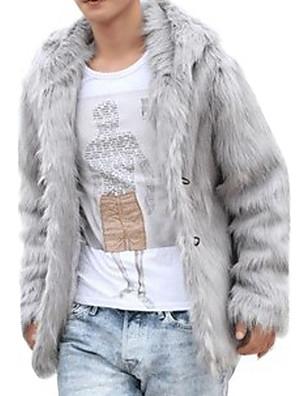 hesapli Erkek Kazakları ve Hırkaları-Erkek V Yaka Kış Kaban Normal Solid Ofis / Kariyer Temel Uzun Kollu Suni Kürk Siyah Kahverengi Gri S M L