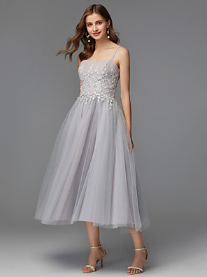 cheap Prom Dresses-A-Line Elegant Pastel Colors Homecoming Prom Dress Spaghetti Strap Sleeveless Tea Length Satin Jersey with Appliques 2020