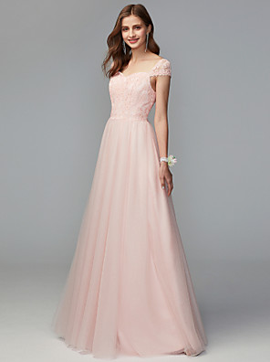 cheap Bridesmaid Dresses-A-Line Sweetheart Neckline Floor Length Lace / Tulle Bridesmaid Dress with Lace / Pleats