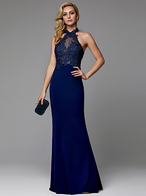 cheap Evening Dresses-Sheath / Column Sexy Blue Prom Formal Evening Dress Halter Neck Sleeveless Floor Length Spandex with Appliques 2020