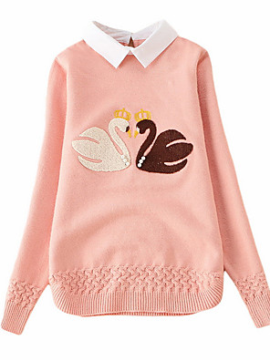 cheap Girls' Dresses-Kids Girls' Street chic Print Long Sleeve Regular Sweater & Cardigan Blue