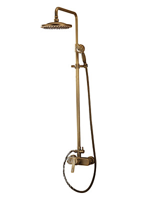 cheap Hand Tools-Shower Faucet - Antique Antique Brass Shower System Ceramic Valve Bath Shower Mixer Taps / Handshower Included / Rain Shower / Yes / Single Handle Three Holes
