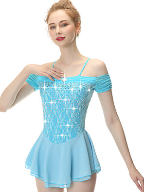 cheap Ice Skating Dresses , Pants & Jackets-21Grams Figure Skating Dress Women's Girls' Ice Skating Dress Blue Spandex Stretch Yarn High Elasticity Competition Skating Wear Handmade Embossed Fashion Short Sleeve Ice Skating Winter Sports