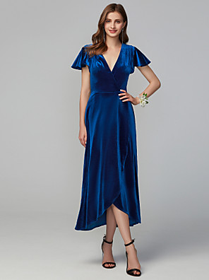 cheap Prom Dresses-A-Line V Neck Asymmetrical Velvet Bridesmaid Dress with Split Front