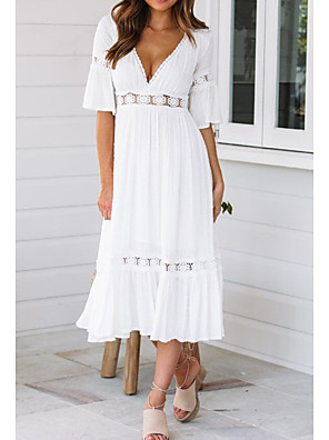 cheap Print Dresses-Women's Swing Dress - Half Sleeve Solid Colored Summer Spring & Summer V Neck Beach Flare Cuff Sleeve 2020 White S M L XL / Sexy