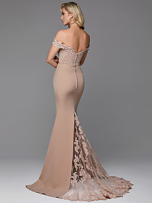 cheap Evening Dresses-Mermaid / Trumpet Vintage Inspired Formal Evening Dress Off Shoulder Sleeveless Sweep / Brush Train Jersey with Lace Buttons 2020