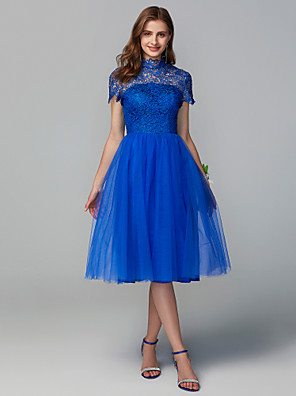 cheap Cocktail Dresses-A-Line High Neck Knee Length Lace / Tulle Bridesmaid Dress with Lace