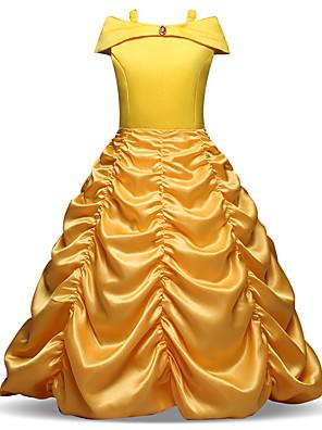olcso Lány ruhák-Gyerekek Kisgyermek Lány Vintage Édes Karácsony Szabadság Egyszínű Pliszé Ujjatlan Midi Ruha Sárga