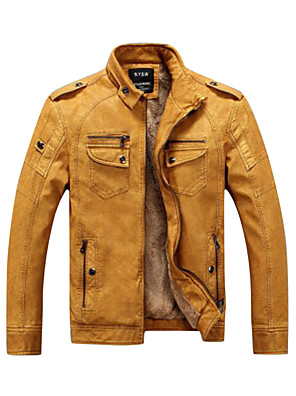 cheap Men's Jackets & Coats-Men's Daily / Weekend Punk & Gothic Fall / Winter Regular Leather Jacket, Solid Colored Stand Long Sleeve PU Brown / Black / Yellow