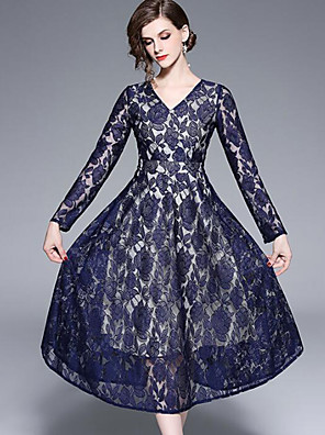 cheap Special Occasion Dresses-A-Line Elegant Vintage Inspired Holiday Prom Dress V Neck Long Sleeve Ankle Length Lace Corded Lace with Lace Insert 2020