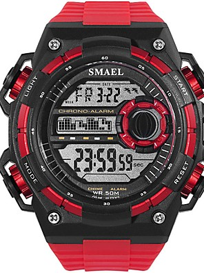 cheap Sport Watches-Men's Sport Watch Digital Watch Digital Oversized Casual Water Resistant / Waterproof Quilted PU Leather Black / White / Red Digital - White Black Red / Noctilucent / Large Dial