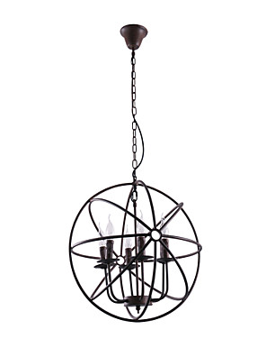 cheap Wedding Wraps-1-Light 50 cm Candle Style Chandelier Metal Globe Painted Finishes Rustic / Lodge 110-120V / 220-240V