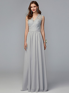 cheap Evening Dresses-A-Line V Neck Sweep / Brush Train Chiffon / Lace Bridesmaid Dress with Lace / Pleats / Open Back