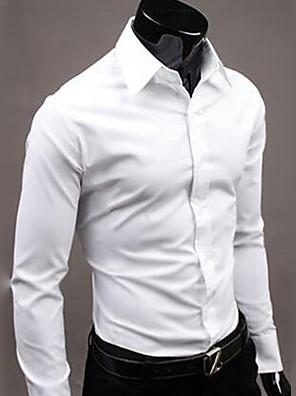 povoljno Muške košulje-Muškarci Dnevno Majica Jednobojni Dugih rukava Tops Posao Osnovni Obala Crn Plava