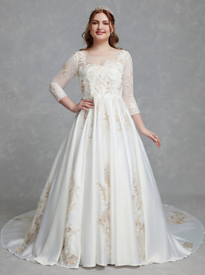 cheap Wedding Dresses-A-Line Wedding Dresses Scoop Neck Court Train Lace Satin Long Sleeve Romantic Glamorous See-Through Illusion Sleeve with Lace 2020