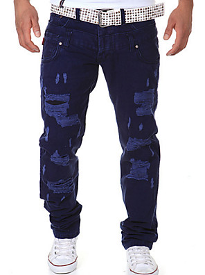 cheap Men's Belt-Men's Street chic Daily Chinos Pants - Solid Colored Black Orange Royal Blue 28 / 30 / 32