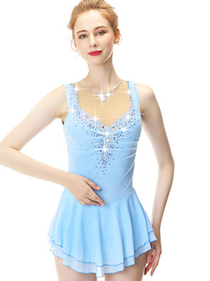 cheap Ice Skating Dresses , Pants & Jackets-21Grams Figure Skating Dress Women's Girls' Ice Skating Dress Blue Spandex Stretch Yarn High Elasticity Competition Skating Wear Handmade Embossed Fashion Sleeveless Ice Skating Winter Sports Figure