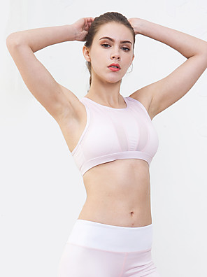 ca508cbc46 LUCK PANTHER Women s Scoop Neck Removable Pad Sports Bra Light Pink Sports  Solid Color Spandex Top