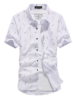 cheap Men's Shirts-Men's Geometric Print Shirt Daily Club Collar White / Red / Light Blue / Short Sleeve