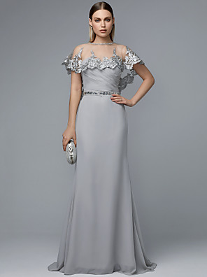 cheap Mother of the Bride Dresses-Sheath / Column Two Piece See Through Prom Dress Sweetheart Neckline Sleeveless Sweep / Brush Train Chiffon with Beading Ruffles 2020