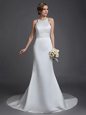 cheap Prom Dresses-Mermaid / Trumpet Wedding Dresses Jewel Neck Court Train Satin Sleeveless Beautiful Back with Buttons 2020