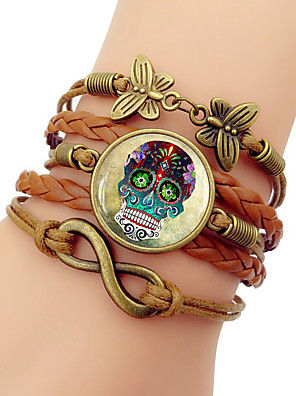 cheap Quartz Watches-Women's Loom Bracelet Braided Twisted Skull Calaveras Trendy Steampunk Cord Bracelet Jewelry White / Blue / Pink For Daily Street