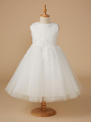 cheap Girls' Dresses-Ball Gown Knee Length Wedding / First Communion Flower Girl Dresses - Lace / Tulle Sleeveless Jewel Neck with Appliques