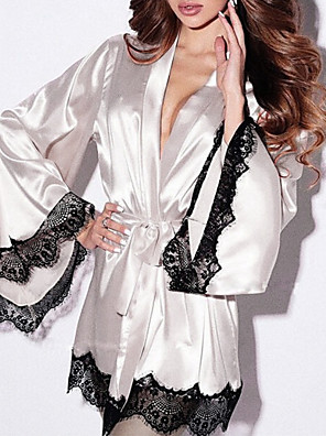 cheap Suits-Women's Lace Sexy Robes / Satin & Silk Nightwear Patchwork Black White Purple S M L/StayCation