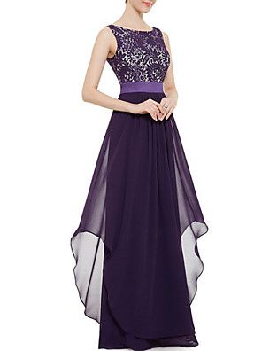 cheap Prom Dresses-Women's Maxi Swing Dress - Sleeveless Solid Colored Lace Spring Summer Elegant Cocktail Party Prom Wine Black Purple Royal Blue S M L XL XXL / Sexy