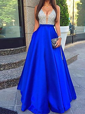 cheap Women's Outerwear-Women's Maxi A Line Dress - Sleeveless Solid Colored Backless Sequins Spring Summer Halter Neck Sexy Party Cocktail Party Prom Blue Red S M L XL
