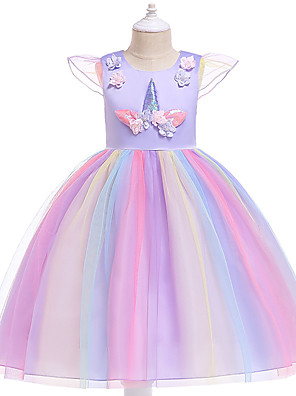 cheap Girls' Dresses-Kids Girls' Active Sweet Party Holiday Unicorn Patchwork Short Sleeve Knee-length Dress Blushing Pink
