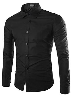 baratos Camisas Masculinas-Homens Camisa Social Sólido Blusas Básico Vinho Castanho Claro Branco / Manga Longa