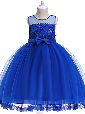 cheap Girls' Dresses-Kids Girls' Active Sweet Party Holiday Solid Colored Sleeveless Knee-length Dress Blue