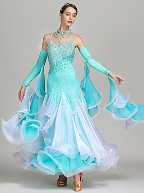 cheap Ballroom Dancewear-Ballroom Dance Dress Beading Crystals / Rhinestones Women's Performance Sleeveless High Spandex Chiffon Organza