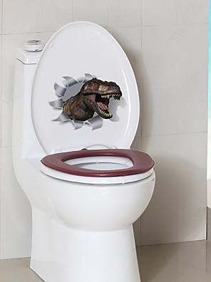 cheap Women's T-shirts-Cartoon Dinosaur Toilet Stickers - Animal Wall Stickers Animals Bathroom / Indoor