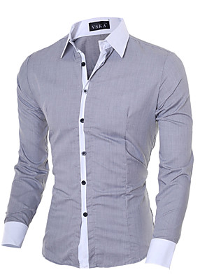 cheap Shirts-Men's Solid Colored Slim Shirt - Cotton Business Basic Daily Going out Work Classic Collar White / Black / Blue / Blushing Pink / Gray / Fall / Long Sleeve