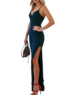 cheap Prom Dresses-Women's Maxi Sheath Dress - Sleeveless Solid Colored Split Strap Elegant Daily Blue Green S M L XL XXL / Sexy